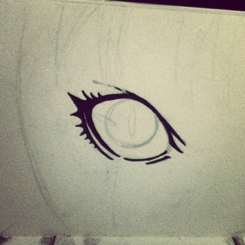 Clare's eye in progress #progress #pencil #ink #manga #claymore #half #human #yoma #warrior #yoki #silver #gold #anime #Japan #sketch #art #Clare #eye  (Taken with Instagram at Selby)