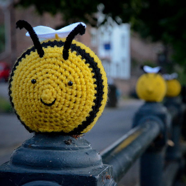 My favourite bee by ..Captain Crochet.. on Flickr.happy bees