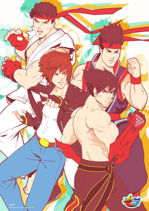 'Ryu X Kyo X Jin X Akira'. Player 1 and 2. [Street Fighter X King Of Fighters X Tekken X Virtua Fighter]. Poster Design + Illustration. 2012. Sanctioned piece for the Attract Mode Versus Fangamer show in Seattle for the Penny Arcade Expo.