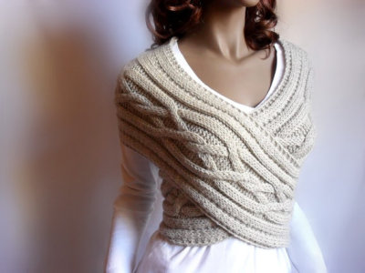 awesomeetsy:  (via Hand knit Cross Sweater Capelet Vest Neck warmer in by Pilland)
