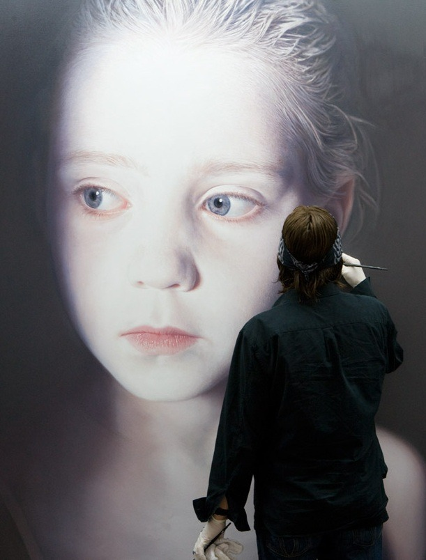 "pikeys:  Gottfried Helnwein working on ""The Murmur of the Innocents"", 2009"