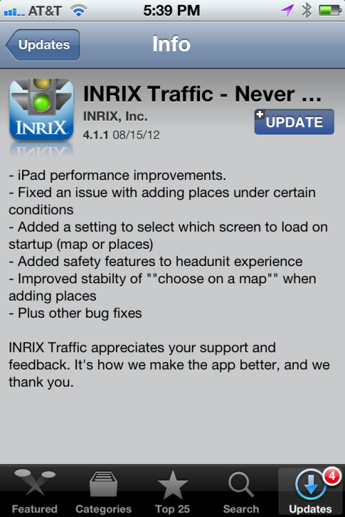 INRIX Traffic 4.1.1 for iOS available now.