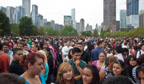 Picture of the Day: Chicago, Illinois. Several thousand people are lined up at the Navy Pier, all waiting to get more information about the US' new deferred action program. Today marked the beginning of the deferred action party for undocumented immigrant youth in the United States. Undocumented immigrants between ages 15 and 30 who meet certain requirements (no felony convictions, etc.) can apply for a two-year work authorization that will temporarily protect them from deportation and give them the opportunity to get legal work with more protections and benefits. As many as 1.7 million people may be eligible for this assistance. The cost for a deferred action request is $465. Donate to this fund set up by Public Interests Project to help defray the cost of the process! Credit: Nathan Weber/NYT.Via. View more Picture of the Day posts.Submit a photo.