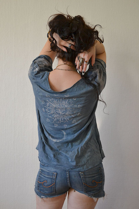 stormy blue zodiac tee … new on my etsy! — everything i do is entirely hand made and recycled. (photographed by liselotte eriksson)