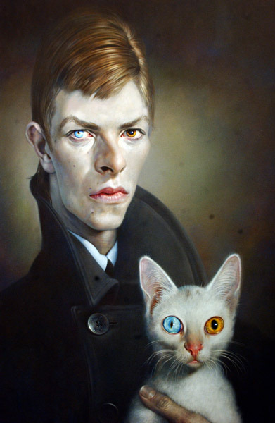 cuteboyswithcats:  bowie and cat, painted by german artist, sebastian krüger