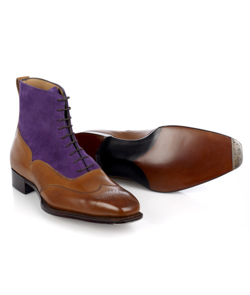 thesilentist:  Archer Adams wingtip balmoral boots — Purple suede and chestnut brown calf? A bit dandyish for my tastes, but you have to admit they look damned impressive. Available in MTO for £625.00.