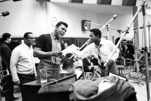 midcenturymodernfreak:     Sam Cooke (right), who was active in the civil rights movement, is pictured here with Muhammad Ali (center).       Credit: interactive.wxxi.org | Getty Images