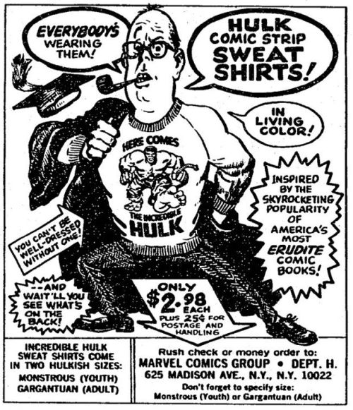 Ad for Incredible Hulk sweat shirts (C.1967)