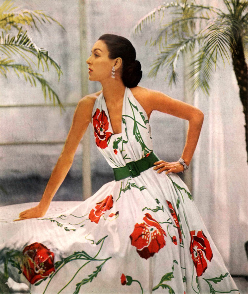 Oh hai perfection myvintagevogue:  Enka Rayon, dress designed by Joseph Whitehead 1950