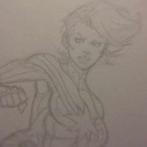 Working on something for the #NYCC charity auction in Oct. #captainmarvel #caroldanvers (Taken with Instagram)