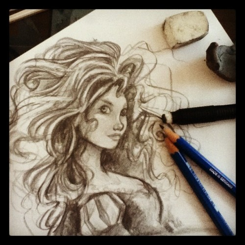 Drawing glorious amounts of hair. (Taken with Instagram)