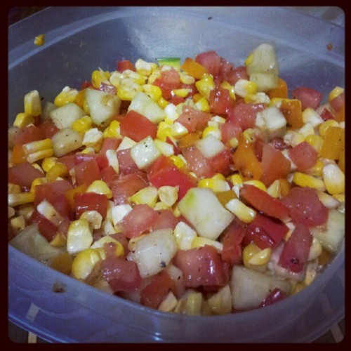 Summer salad: grilled corn, bell peppers, tomato and cucumber. You jelly? #summersalad #sweetcorn #yummytummy (Taken with Instagram)