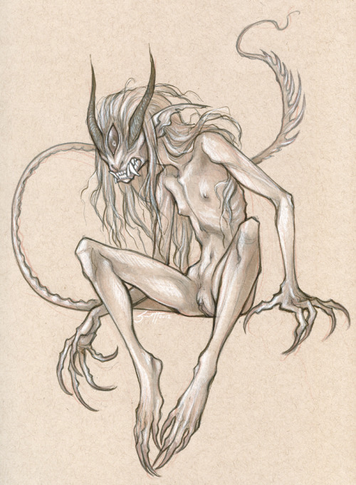 savannahhorrocks:  Day 9 of the 30 Monster Girls Challenge: Demon Did warm up sketches but had a LONG intermission while my parents were visiting before getting back on this. Anyway. This character doesn't yet have a name. But she's a demon. She's angry and hates almost everyone except her adorable human girlfriend.  Still on the fence about how I feel about this - I kind of like it, but feel unsure about it. I'll probably like it more after stepping back from it for a while.