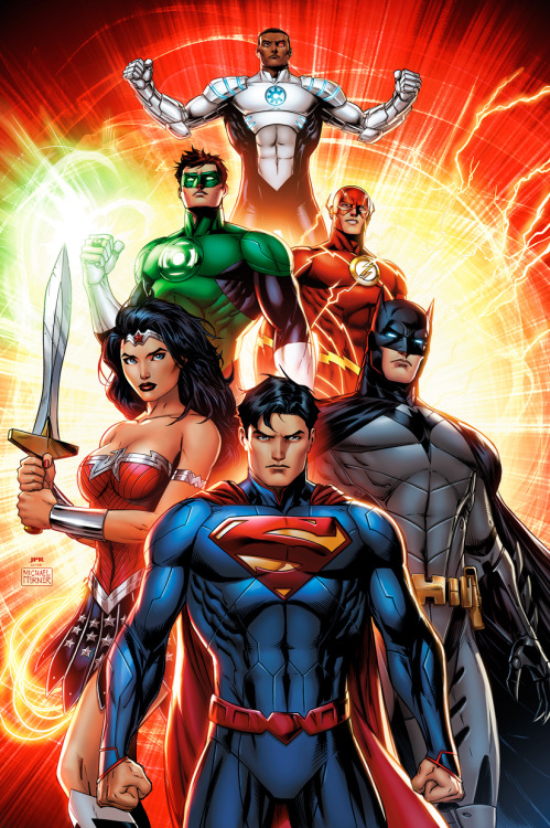 comicsforever:  The Justice League // artwork by Jeremy Roberts (2012)