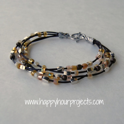 truebluemeandyou:  DIY Leather Cord Bead Bracelet Tutorial from Happy Hour Projects. There are certain jewelry findings that make jewelry projects look so much better and are so easy to use like end caps or ribbon crimp ends (projects here and here). You could also use this design for the Morse Code Bracelets I posted here.