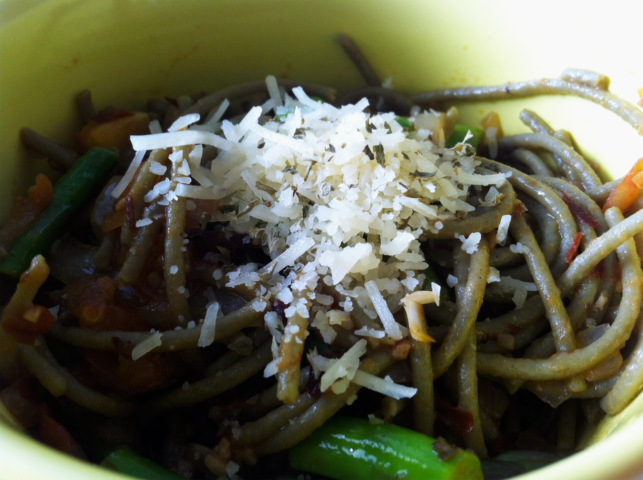 Another shot of my spinach pasta topped with fresh Parmesan cheese. -Braised Bombshell