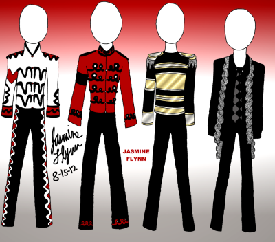 Four Michael Jackson Fashions. a digital drawing by me, Jasmine Flynn :)