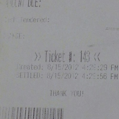 My ticket # for lunch (: that sh*t kray lolx (Taken with Instagram)