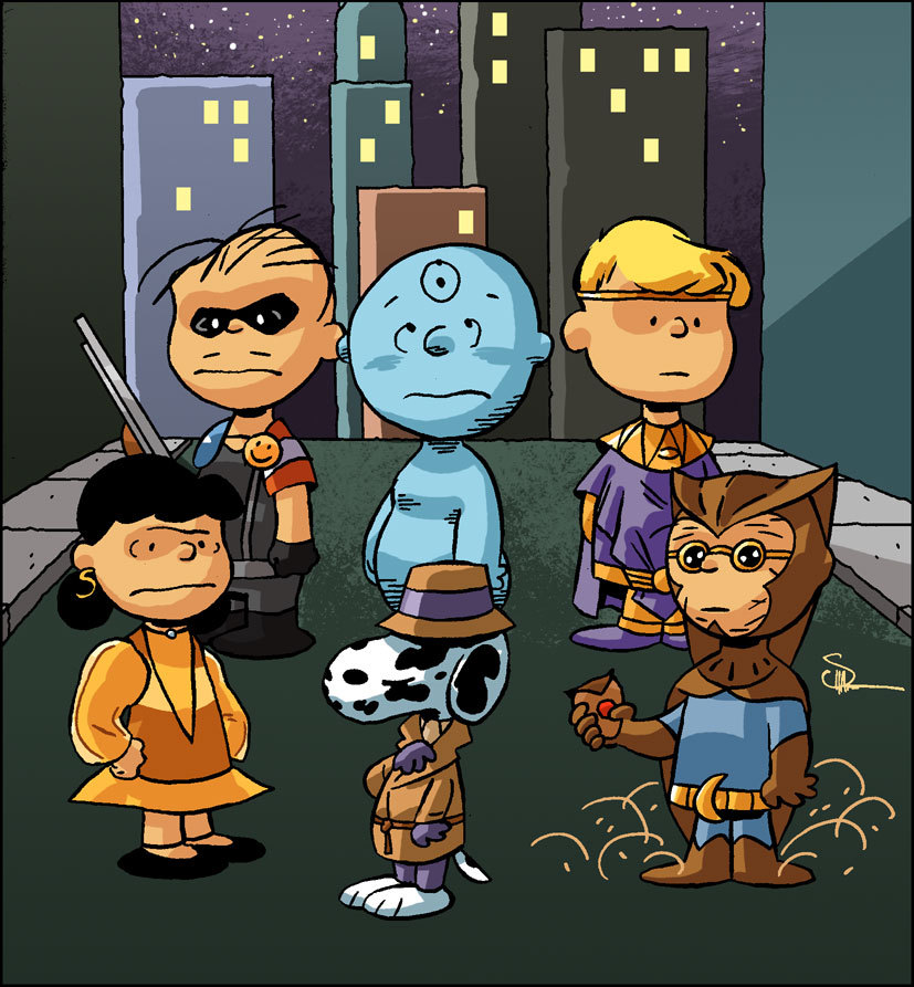 Artwork by Evan Shaner. Watchmen / Peanuts.