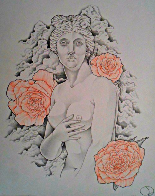 """For the Love of Aphrodite"" Medium : Colored Pencil and Pen by D 080312"