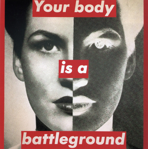 suicideblonde:  Untitled (Your Body Is a Battleground) (1989) by Barbara Kruger