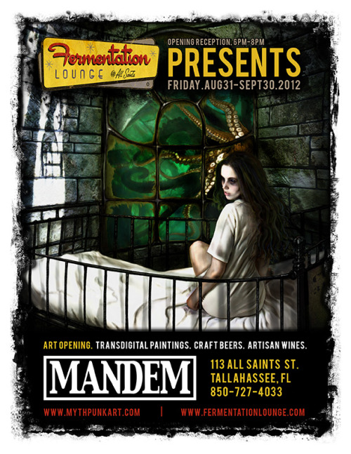 MANDEM art show opening at Fermentation Lounge (Tallahassee, FL) Friday, August 31, 2012 - 6pm-8pm. Spread the word! We hope to see you there.