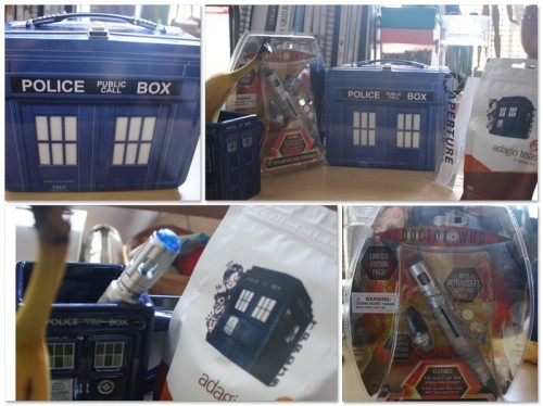 vorsque:  My birthday gifts just arrived from Think Geek! I'm really really REALLY happy. I'm flailing my sonic screw driver around. Going to brew my TARDIS blend and watch some Doctor Who. Can't wait to use my lunchbox for school.