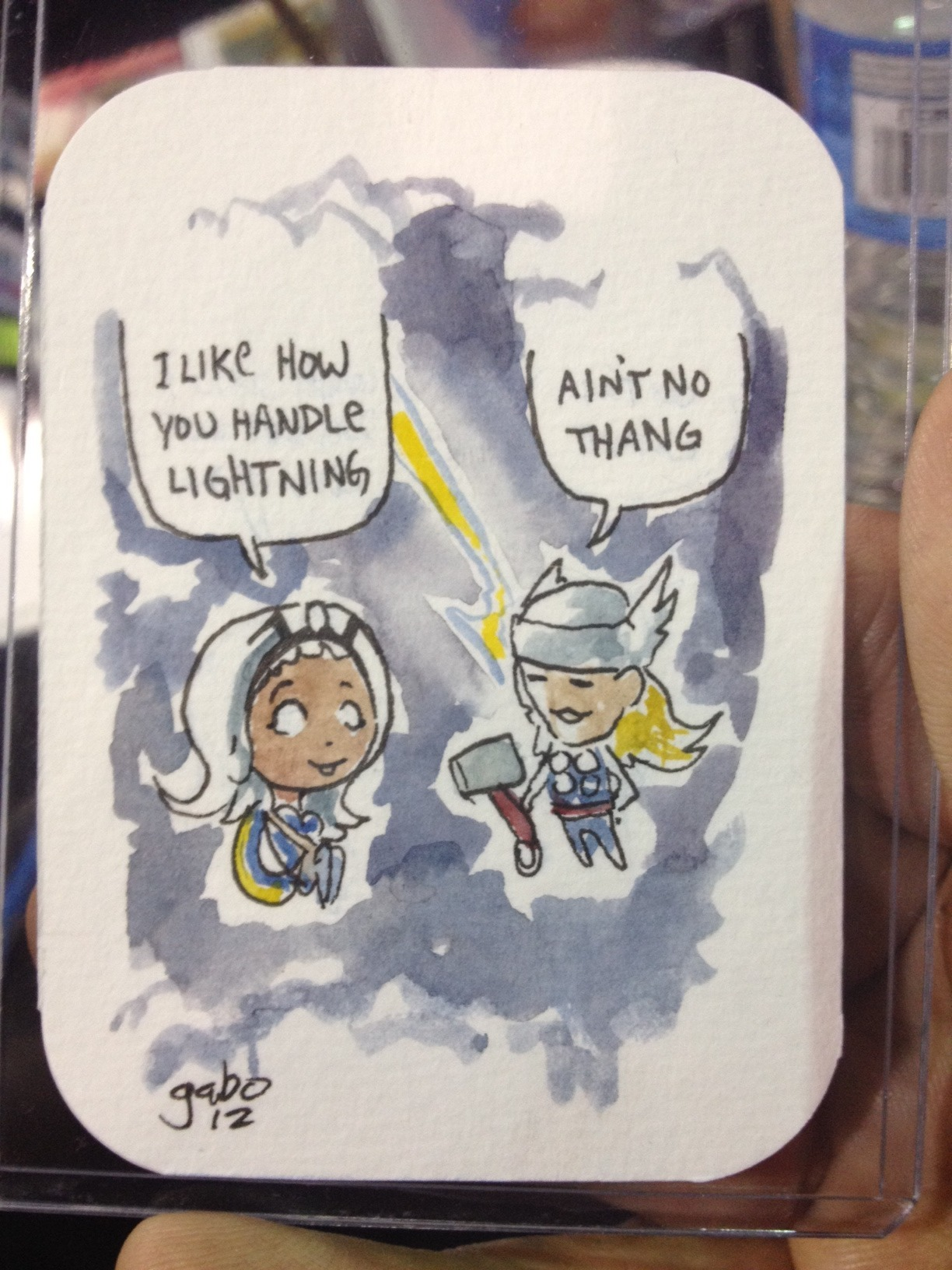 galvo:  @wizardworld chicago Sunday's watercolor sketchcards  Gabe Bautista should be doing these lil super-hero water colors in the back of every Marvel and DC comic on the rack.