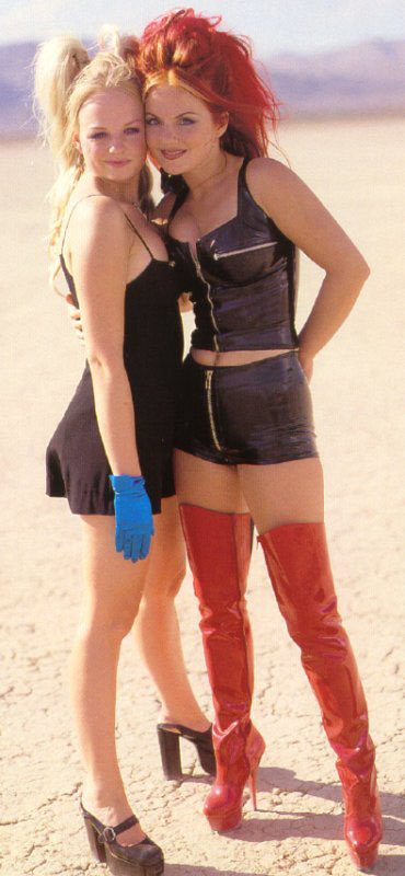 Emma Bunton and Geri Halliwell during the filming of Say You'll Be There