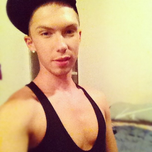 Just a chill night. ;) #party #weho #letsgo #makeup #miles #natural #gay #gayboy #instagay #kikme #body #tanktop #la #hat #iphonesia #iphone4s  (Taken with Instagram)