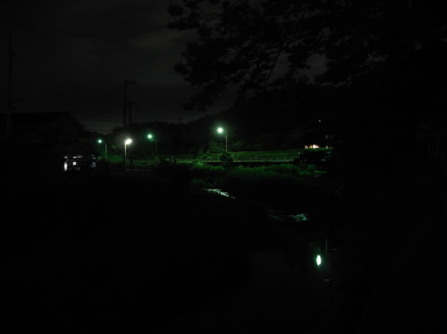 streetlights, night of the countryside