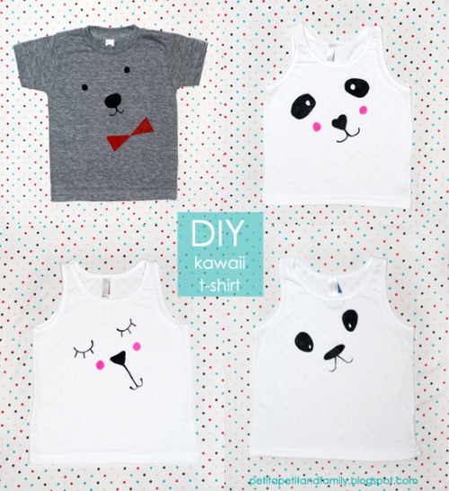 rainbowsandunicornscrafts:  DIY Kawaii Tee Shirt Tutorial and Templates from  Petit à Petit here. This project uses Stained by Sharpie Fabric Markers so it is really easy.