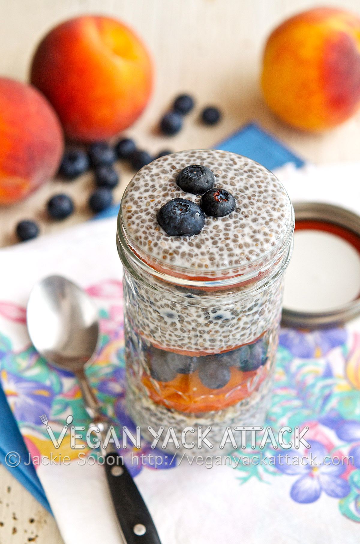 Blueberry Peach Chia Parfait A great way to beat the heat while enjoying a delicious and nutrient-filled parfait! Check out the recipe at Vegan Yack Attack!