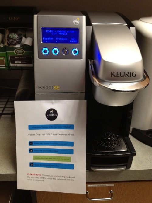My office installed new coffee machines today. I posted this sign at each machine. I should have hidden a video camera.