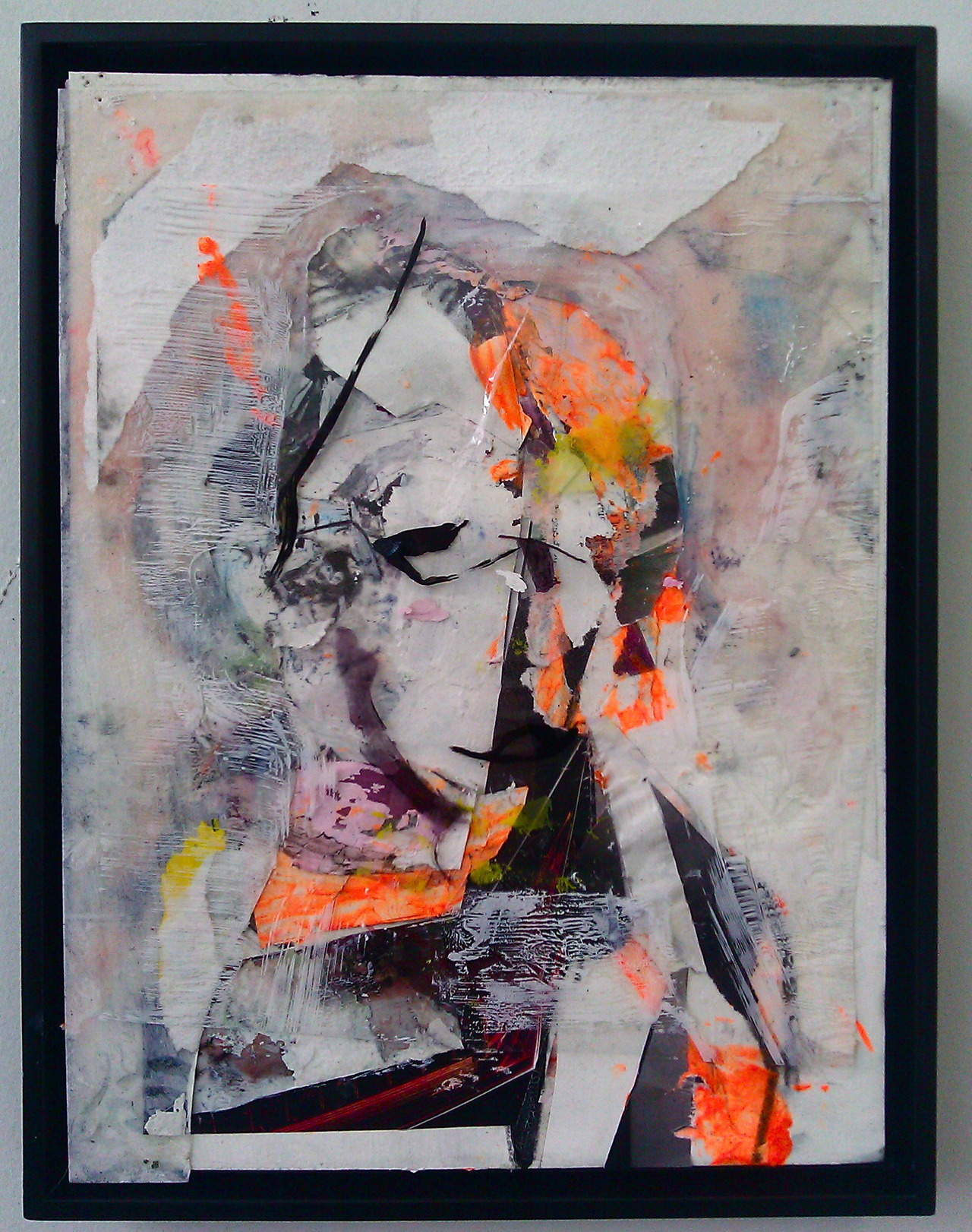 "annielynx:  Untitled (Faceplant), 2012.Mixed media on paper laid on canvas, 9"" x 12"""