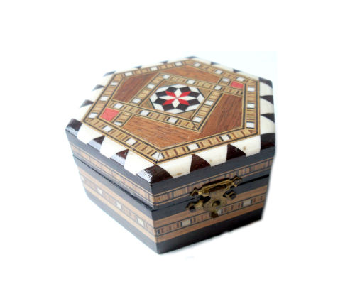 Vintage Wooden Mosaic Tribal Trinket Box. For sale on Etsy.