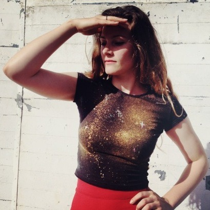 DIY Metallic Galaxy Tee Shirt Tutorial from By Hand London here. This galaxy tee tutorial is a little different because it uses metallic colors and bleach - so a different type of galaxy emerges. For more galaxy tutorials go here: truebluemeandyou.tumblr.com/tagged/galaxy Also, I received a question about whether you could use bleach for a galaxy design using NYLON and did some research since I've only used cotton when dyeing. The answer is NO. What you can do and more info: You can use Rit Dye Color Remover instead here. The more scholarly article is here: www.pburch.net/dyeing/FAQ/nylon.shtml  RIt Dye has a page on what their dye will dye and won't here:  http://www.ritdye.com/dyeing-techniques/tips-success It also states: about Nylon: To help achieve a more intense color, add 1 cup white vinegar to the dyebath, especially when dyeing in the washing machine. When dyeing smaller amounts of fabric using the bucket or stove-top method, add 1/2 cup white vinegar after the fabric has been in the dyebath for 5 minutes. Rit dyes nylon very easily and quickly. To avoid wrinkling, do not exceed a water temperature of 180º F. After dyeing, allow fabric to cool down before rinsing in cool water.