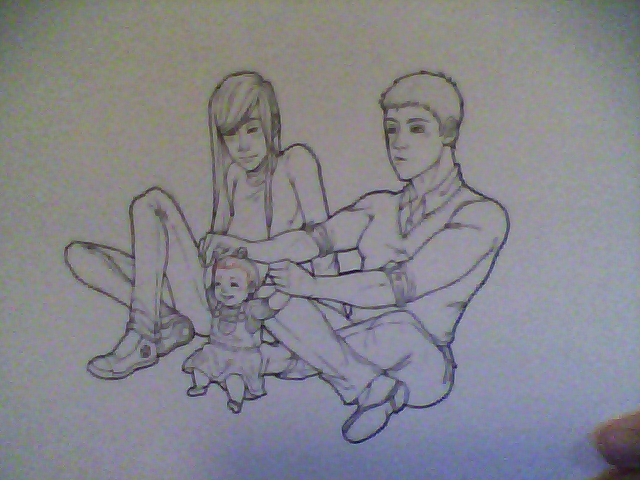 Here! Have a WIP. New characters Austin, Gar and their baby girl Uan. vuv I love them a lot. But yeah. I have a lot of other things that I've sketched up and drawn including those requests I had you guys submit of me to draw myself in a different fandom and shit and I have those mostly finished I just need to finish them up and then I'll spam all of you with my art yes. >:3