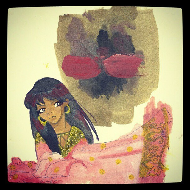 #watercoler #pastel #ink #random #jinn #desi #experimental #illustration #narrative #creative #art #ninjabi (Taken with Instagram)