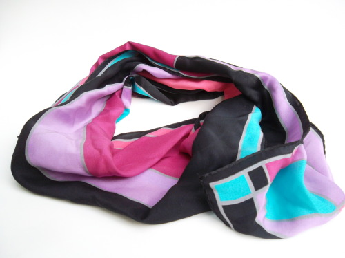 Jones New York Colorful Colorblock Scarf. For sale on Etsy.