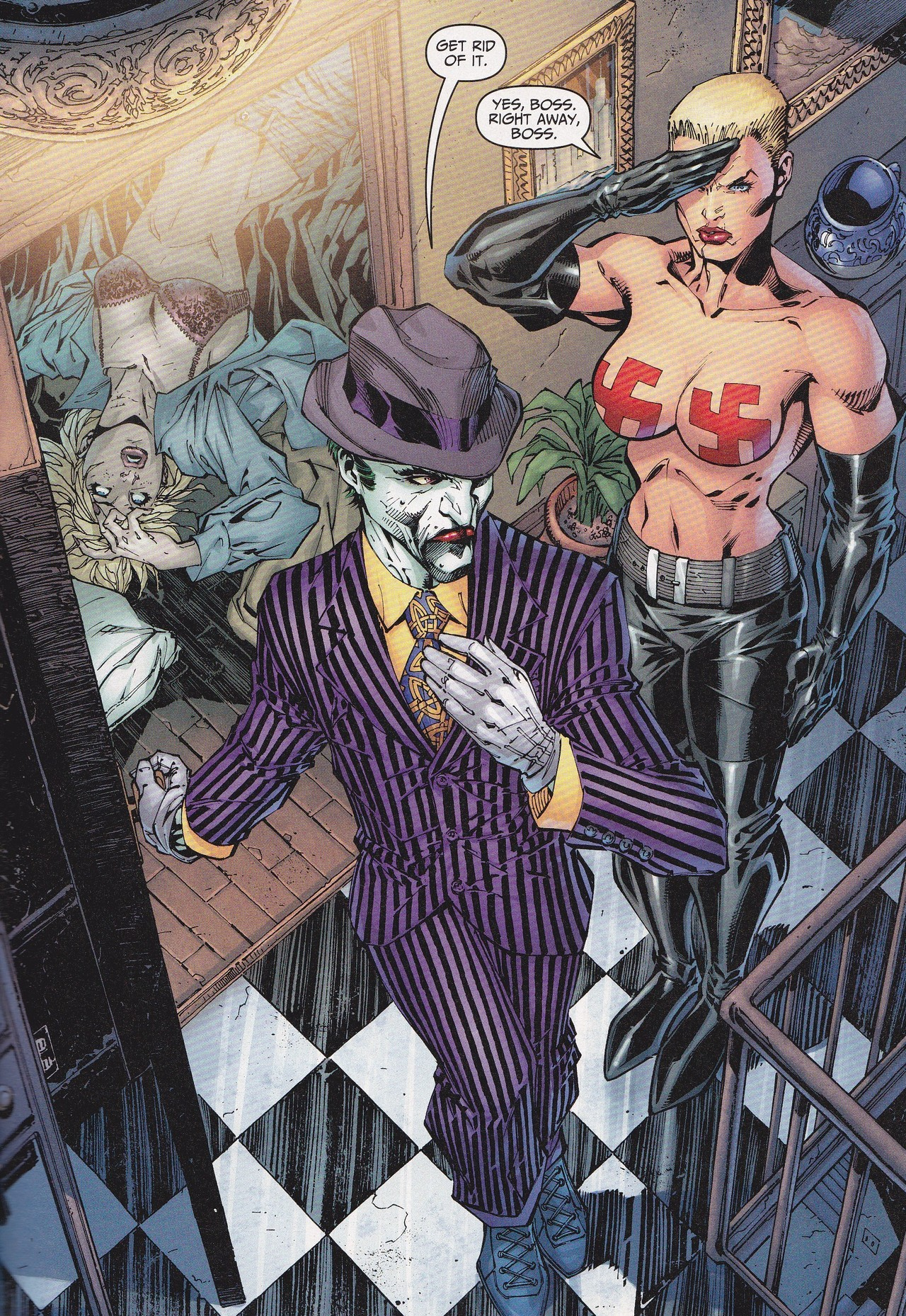 illside:  jthenrcomicsvault:  Joker's Wild All-Star Batman & Robin  The joker a pimp tho. Especially in this photo. The nigga got a a purple pin stripe suit. Blonde, topless, and Nazi bitches do what he want