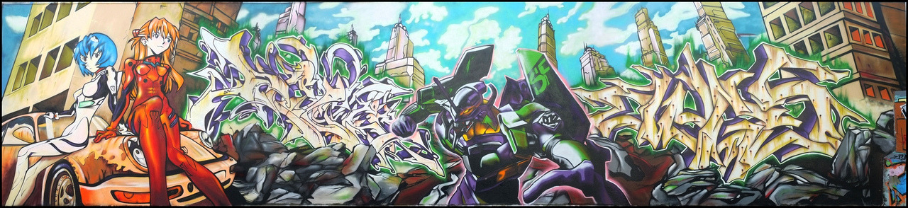 Daily Graffiti: Freaking ENORMOUS Evangelion Street Art Neon Genesis Evangelion is at the top of my list of anime that I need to stop being a lazy jerk about and just watch already. This piece by Deter, Owns, and Bandi makes me feel even worse about sleeping on what some refer to as the most influential anime series of all time. Check out the super huge version here. Check out the DAILY GRAFFITI ARCHIVES for more geektastic street art!