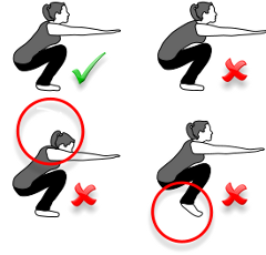 happyandhealthyy:  To do squats with good form you should keep your feet flat on the ground, with your back straight and head up.