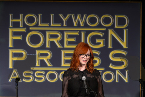 bohemea:  Christina Hendricks, August 9th 2012 Christina in her glasses! Swoon!  Adorable HAIR!