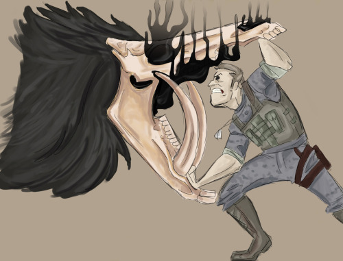 More of me trying to paint.  Keegan fights a HeadHunter Headhunters are a group of beasts born without heads. They are so named because they kill right-sized prey before taking their skulls to use as their own make-shift head. A sort of black smoke that smells like tar emits from were their head should be. This one is hoping to take Keegan's skull for its young.