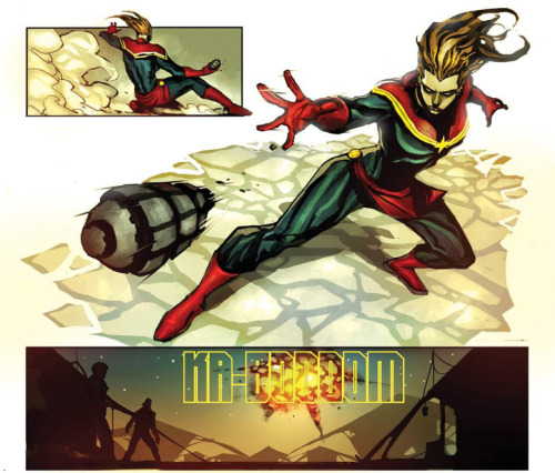 'Nuff said. From Captain Marvel #2 (August 2012); script by Kelly Sue DeConnick, pencils by Dexter Soy.