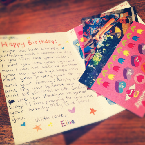 Wrote Emelyne a birthday card! Complete with stickers and a recent photo of me in Cambodia.  It's pretty amazing to keep in touch with her, and be apart of her life in just a small way, from the other side of the world.