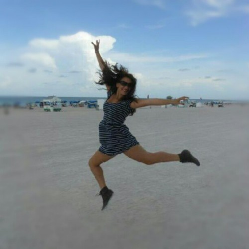 One of the best picture of myself ever! #me #girl #jump #cute #beach #photo #photography #pretty #cool #amazing #boots #dress #miami  (Taken with Instagram)