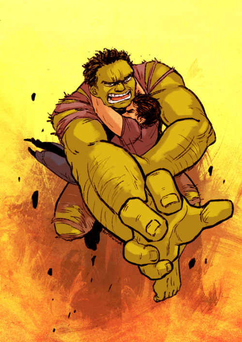 It's Hulk to the rescue!! Hold on tight, Tony!  Wanted to draw something more dynamic and action-oriented. I gotta say, this turned out better than I expected! Though I may very well change my mind tomorrow morning hahaha…..  Anyways, I wish there were more Brucy/Tony fics that included the Hulk, seriouslyyyyy.