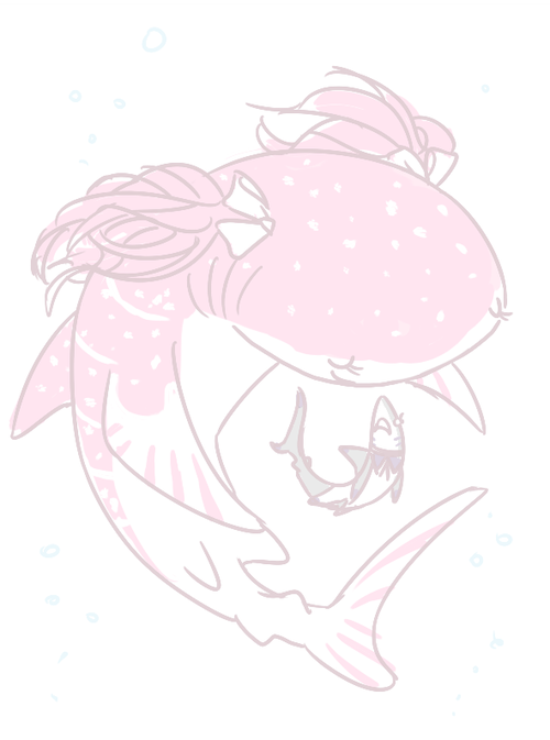 Madoka Magica fanart of whale shark!Madoka swimming around reef shark!Homura as if protecting her.